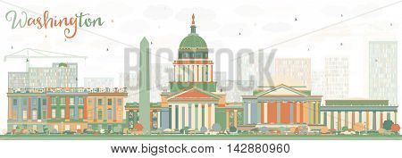 Abstract Washington DC Skyline with Color Buildings. Vector Illustration. Business Travel and Tourism Concept with Historic Buildings. Image for Presentation Banner Placard and Web Site.
