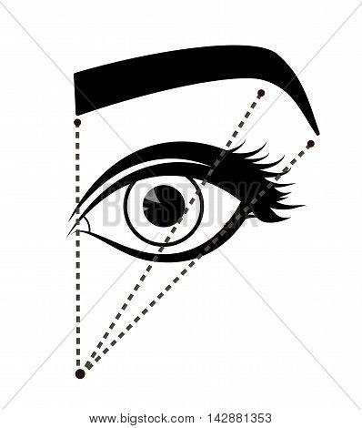 Monochrome scheme of ideal proportions eyebrows and eyes. Tutorial how to shape the eyebrow on face. Black color. Manual for shaping the eyebrows. Vector illustration poster