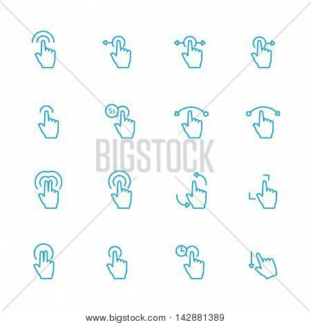 Touch Gesture Blue Line Icons and Sensory Blue Line Icons