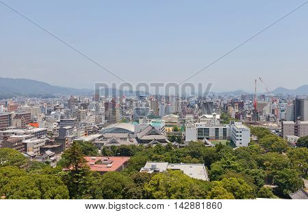 KOCHI JAPAN - JULY 19 2016: View of Kochi town from the main keep of Kochi castle. Kochi is the capital city of Kochi Prefecture located on the island of Shikoku in Japan