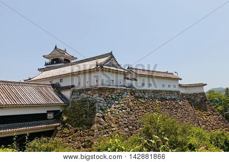 KOCHI JAPAN - JULY 19 2016: Kochi castle (current view since 18th c.) Shikoku Island Japan. Kochi is one of only 12 survived castles in Japan and only one with extant structures of main bailey