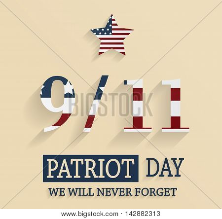 9/11 Patriot Day poster with striped star. Vector illustration.