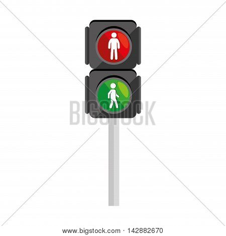 walk traffic light semaphore stoplight allow vector  isolated and flat illustration
