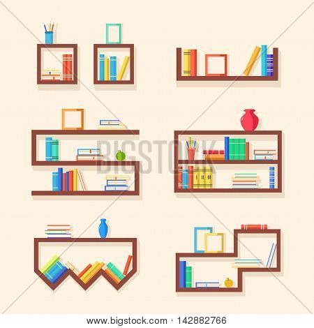 Set of bookshelves. Vector flat illustration. Books on wooden bookshelf. Addition to the interior