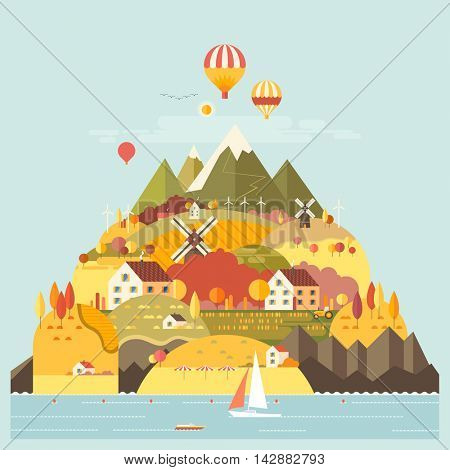 Mountain landscape. The hotel is in the mountains. Mountain Lake. Ballooning. Mountain Trail. Ecological holidays. Sailboat in the sea. The development of agriculture. Autumn