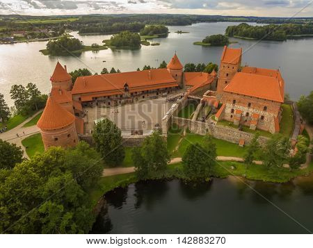 Trakai, Lithuania: Island Castle in the sunset. Historical residence in capital city of Grand Duchy of Lithuania, located in Galve lake