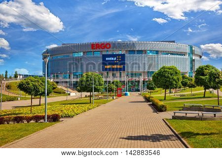 SOPOT, POLAND - AUGUST 15, 2016: Ergo Arena sports and entertainment hall can host up to 15000 people in Sopot, Poland. Hall is the venue of many international matches and concerts.
