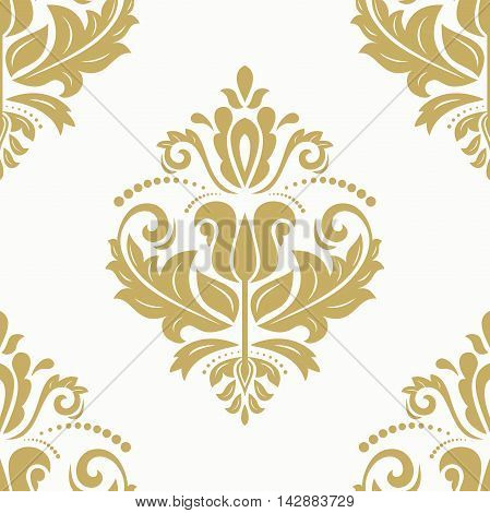 Seamless damask vector pattern. Traditional classic orient ornament. Golden and white pattern