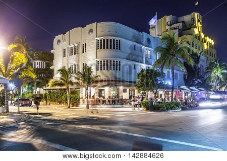 Night View At Ocean Drive  In Miami Beach, Florida