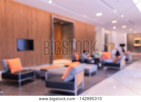 Abstract blurred interior hotel hospital or office lobby for background. Retro filtered effect image