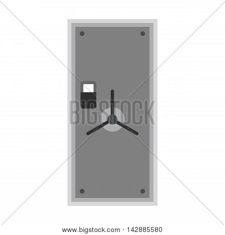 Steel safe door icon in flat style isolated on white background