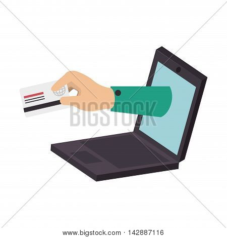 card online internet hand credit money pay chip transaction plastic pay computer laptop money vector  isolated and flat illustration
