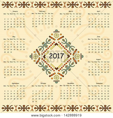 Calendar two thousand seventeenth year. Egyptian patterns.