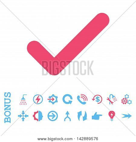 Ok vector bicolor icon. Image style is a flat iconic symbol, pink and blue colors, white background.