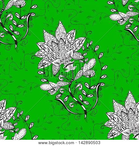 seamless floral background green tone. Vector illustration.