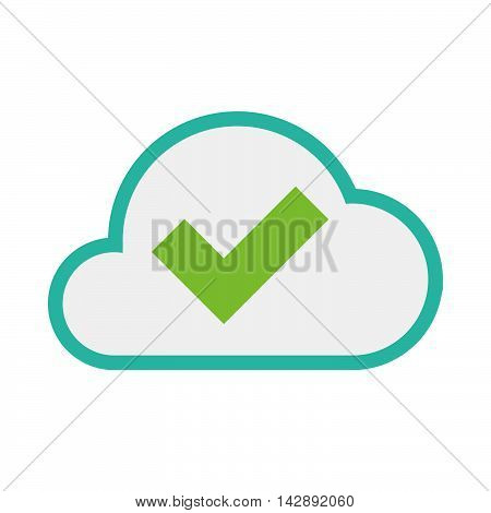 Isolated Line Art   Cloud Icon With A Check Mark