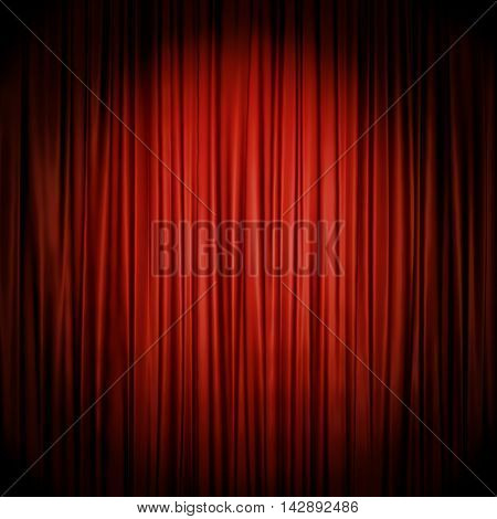 Red stage curtain illuminated by spotlight backdrop. 3D rendering of the theater act drop red cloth.