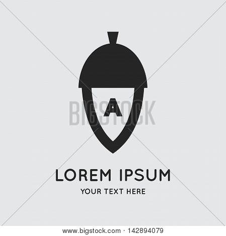 Letter to the acorn logo design vector template. Symbol concept icon.
