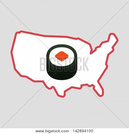 Isolated Line Art  Usa Map Icon With A Piece Of Sushi Maki