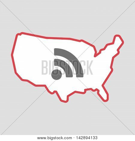 Isolated Line Art  Usa Map Icon With An Rss Sign