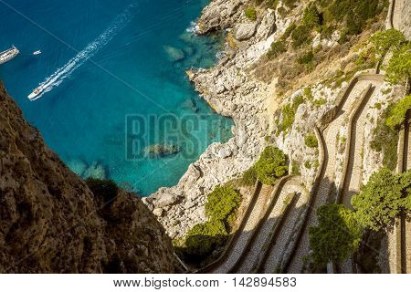 View on Krupp road from Augustus Gardens Isle of Capri Italy