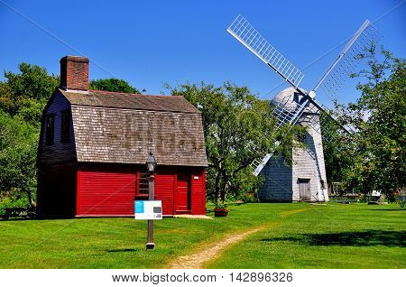 Middletown Rhode Island: C. 1700 Guard House General Prescott's Revolutionary War Headquarters and 1812 Robert Sherman Windmill at Prescott Farm Historic Site *