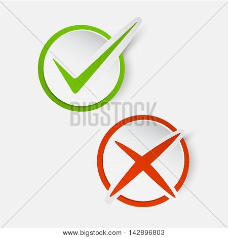 Vector Yes No checkmark on buttons or circles