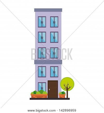 apartment tower building house residential property urban city vector  illustration isolated