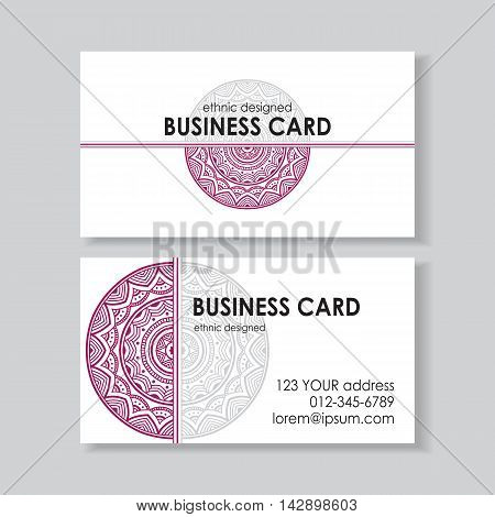 Business card template with beautiful mandala on white background. Indian ethnic motif. Two sides. Vector illustration.