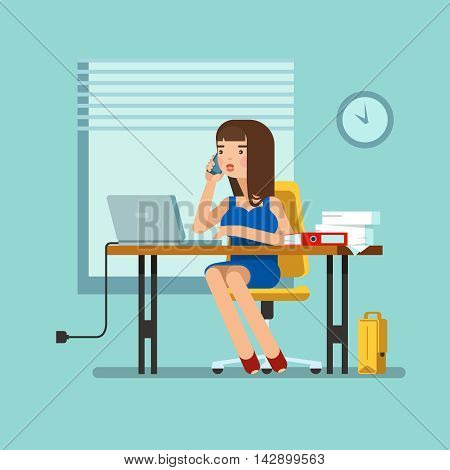 Vector illustration of secretary sitting at the table working workplace with office papers laptop talks on phone in office. Design concept of the secretary or administrator in office workplace