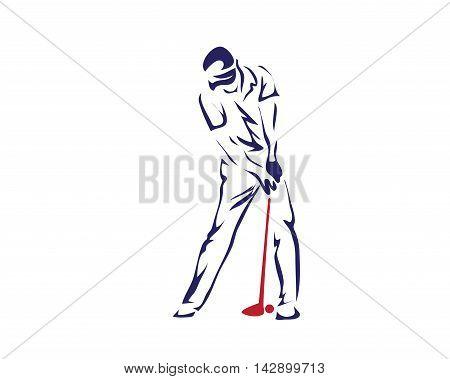 Modern Golf Logo - Blue Golfer With Putter Symbol