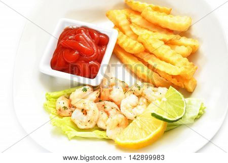 Shrimp Dinner with a Side of Catsup