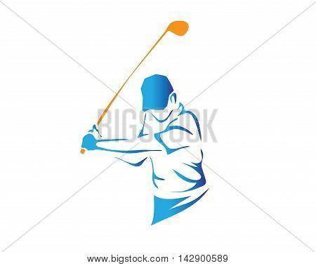 Modern Golf Logo - Professional Blue Golfer Symbol