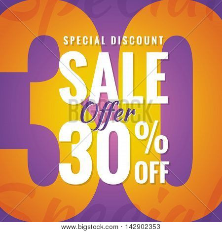 Special Discount Sale 30 Percent Heading Simple Modern Design For Banner Or Poster. Sale And Discoun