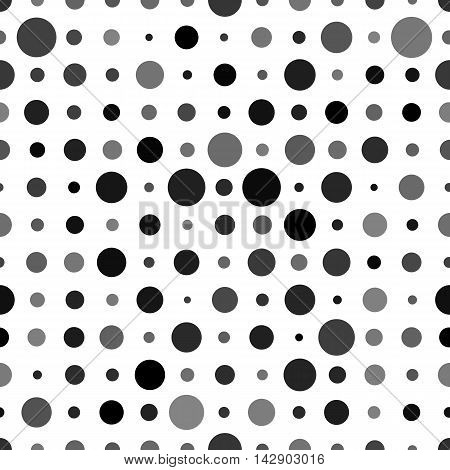 Abstract background with black circles random opacity isolated on white. Seamless polkadot pattern.