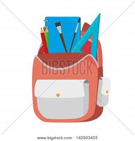 backpack school stationary ruler pencil brush color  back pack student bag element object vector illustration isolated