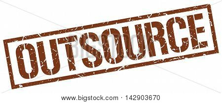 outsource stamp. brown grunge square isolated sign