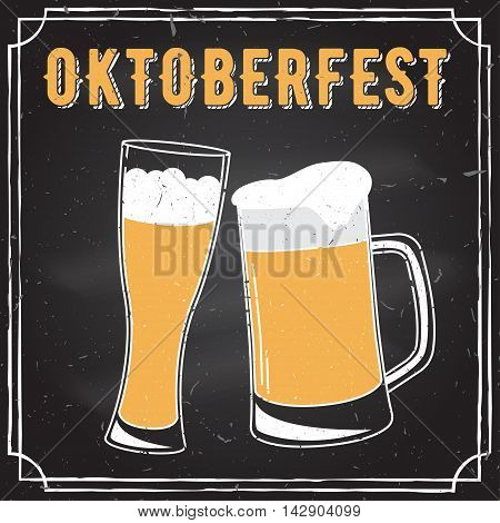 Retro vintage design. Oktoberfest poster with two flat beer mugs on chalkboard. Vintage Beer Brewery. Oktoberfest vector illustration.