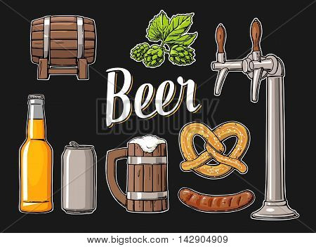 Beer set with tap class can bottle barrel sausage pretzel and hop. Vintage vector flat illustration for web poster. Isolated on black background.