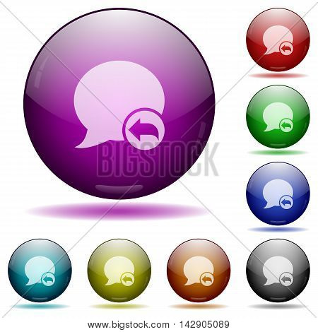 Set of color reply blog comment glass sphere buttons with shadows.
