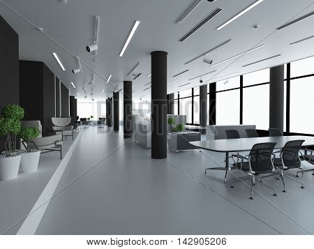 Empty office, white and black. 3D rendering
