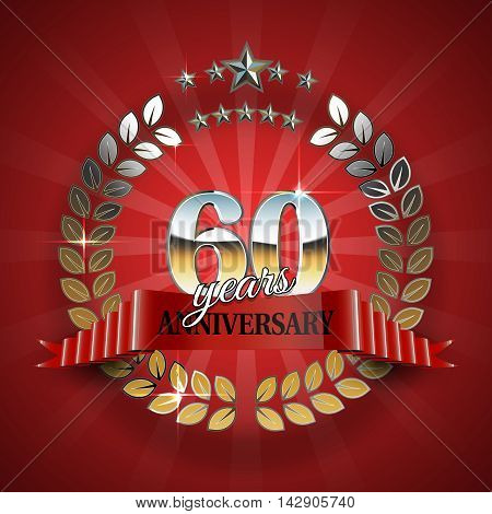 60th anniversary frame in the golden form of laurel branches. Frame for 60th anniversary. Anniversary ring with red ribbon. Anniversary festive celebration emblem. Vector illustration