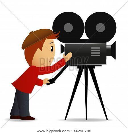 Cartoon Man With Movie Camera