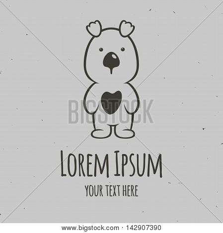 The little panda with the heart. Logo design vector temlate.