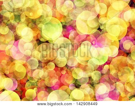 Colorful background of yellow and purple colored air bubbles