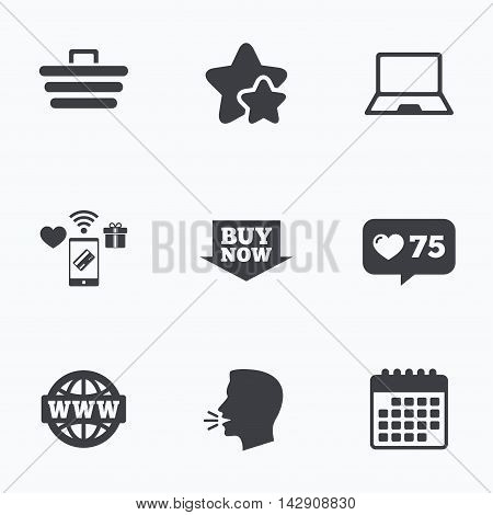 Online shopping icons. Notebook pc, shopping cart, buy now arrow and internet signs. WWW globe symbol. Flat talking head, calendar icons. Stars, like counter icons. Vector