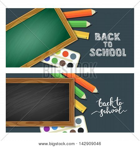 Set Of Back To School Banners With School Supplies, Chalkboard And Calligraphy Lettering. Vector Ill