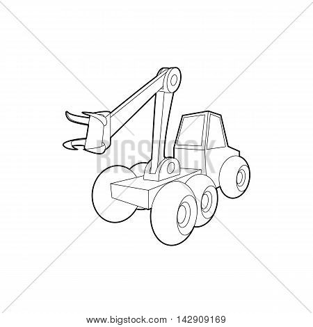 Hydraulic crane icon in outline style isolated on white background. Machinery symbol