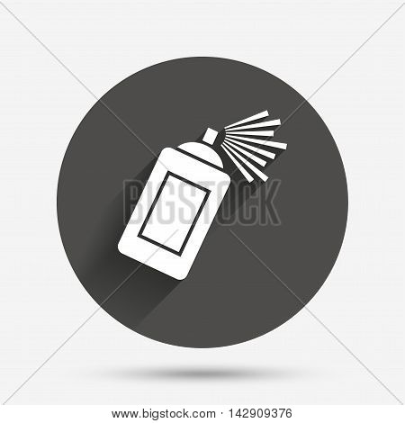 Graffiti spray can sign icon. Aerosol paint symbol. Circle flat button with shadow. Vector