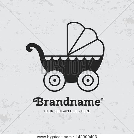 Black baby carriage on a grunge background. Logo design vector template. Symbol concept icon.